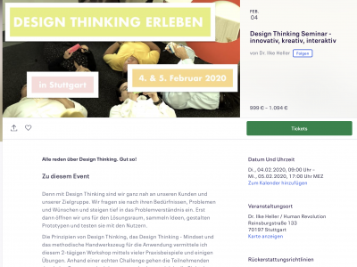 Design Thinking Seminar im Februar 2020!